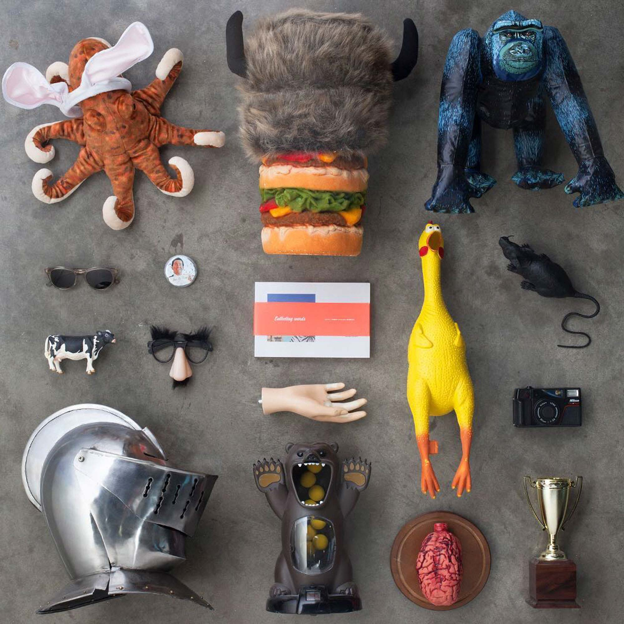 Knolling photography of items found on an art director's desk | Still Life Photography | shot in Boulder, Colorado for Crispin Porter + Bogusky