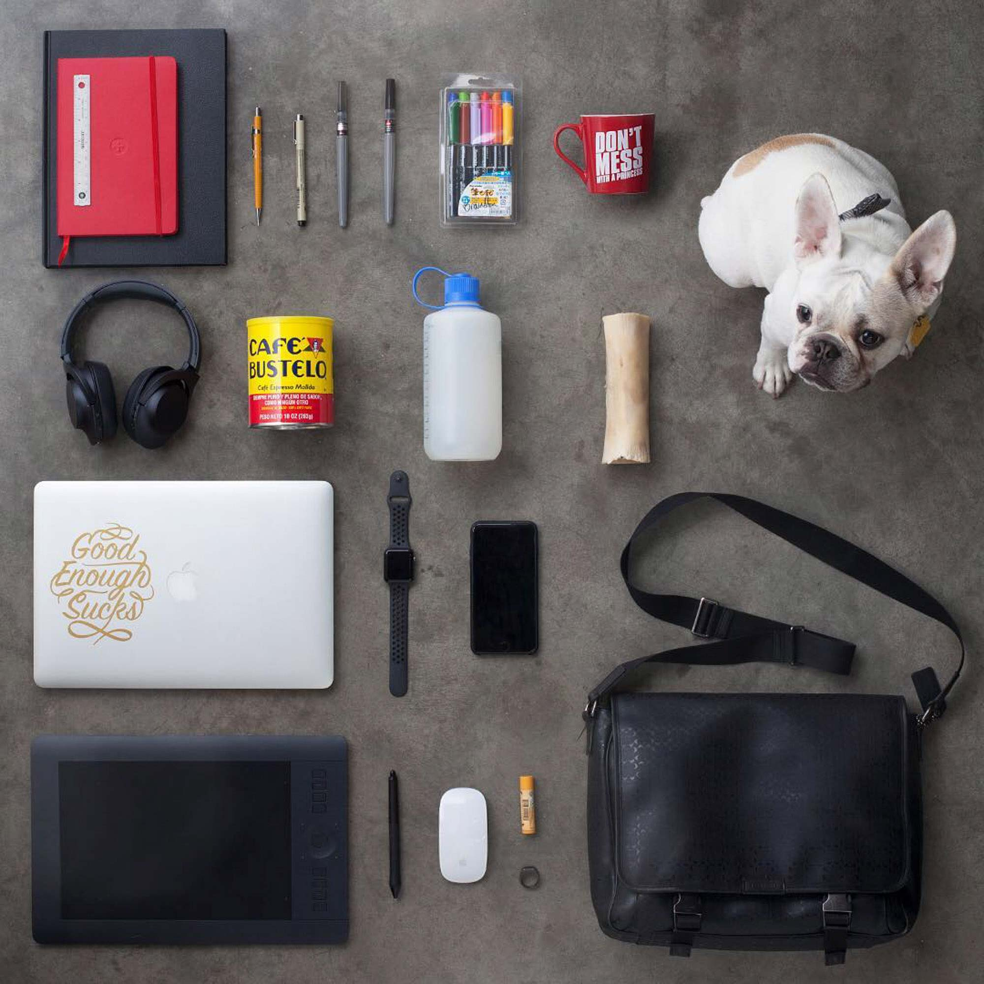 Knolling photo with dog for Crispin Porter + Bogusky | CP+B Boulder | Still Life Photography