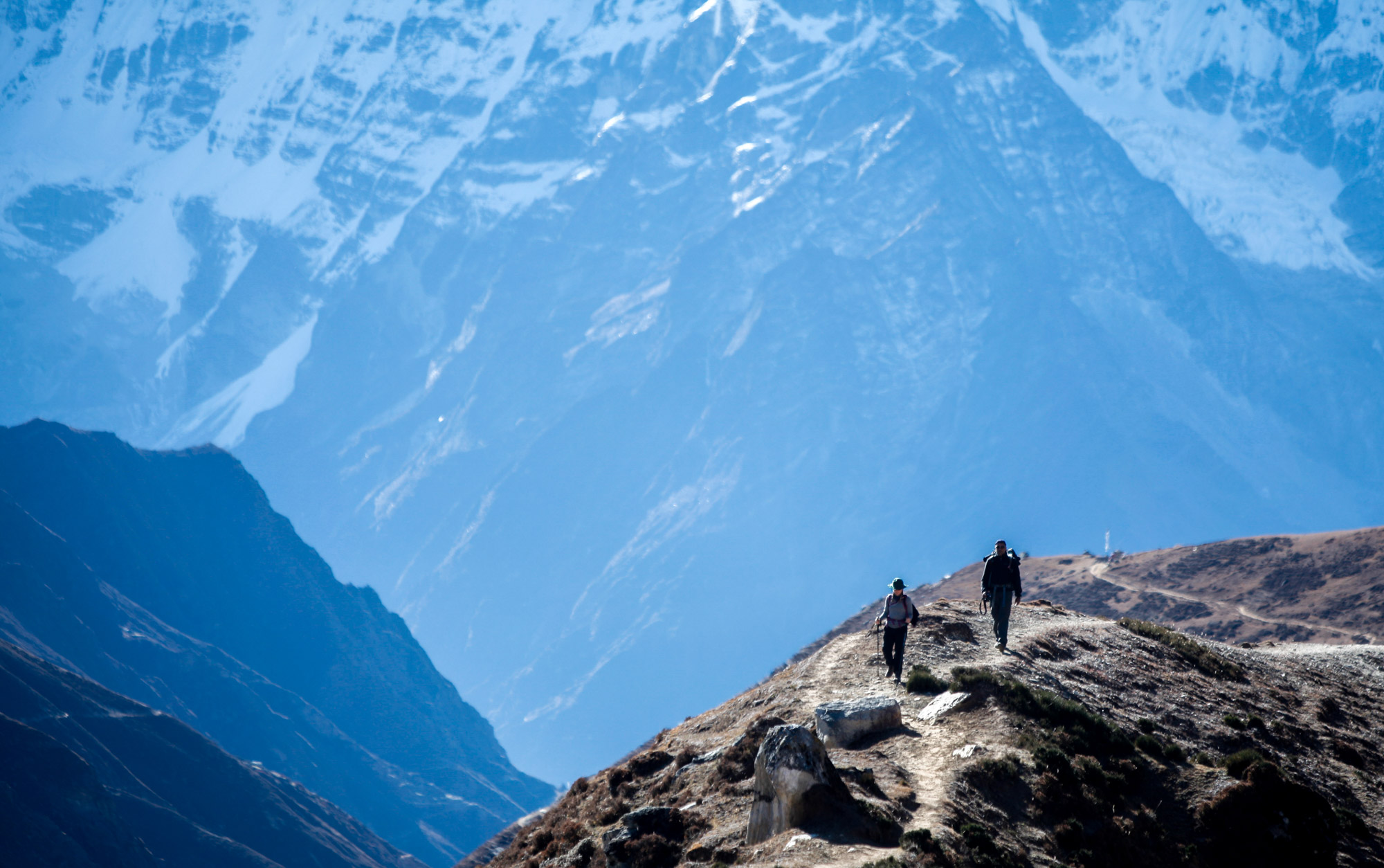 Two Trekkers in Himalayas on Everest Basecamp Trek | Travel Photography | Trekking