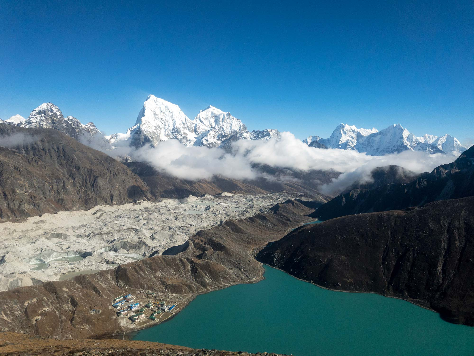 Gokyo town and valley from the top of Gokyo Ri Mountain | Travel Photography | Nature photography