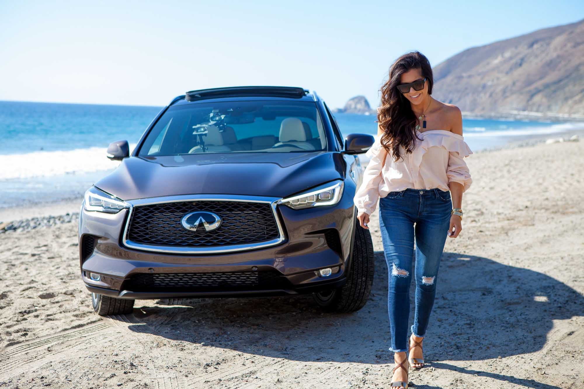 Emily Ann Gemma on beach in front of Infiniti QX-50 | Fashion Photography | Car Photography | @emilyanngemma | THE SWEETEST THING | @thegemmagang | Commercial Photography | Shot in Los Angeles, California for Crispin Porter + Bogusky