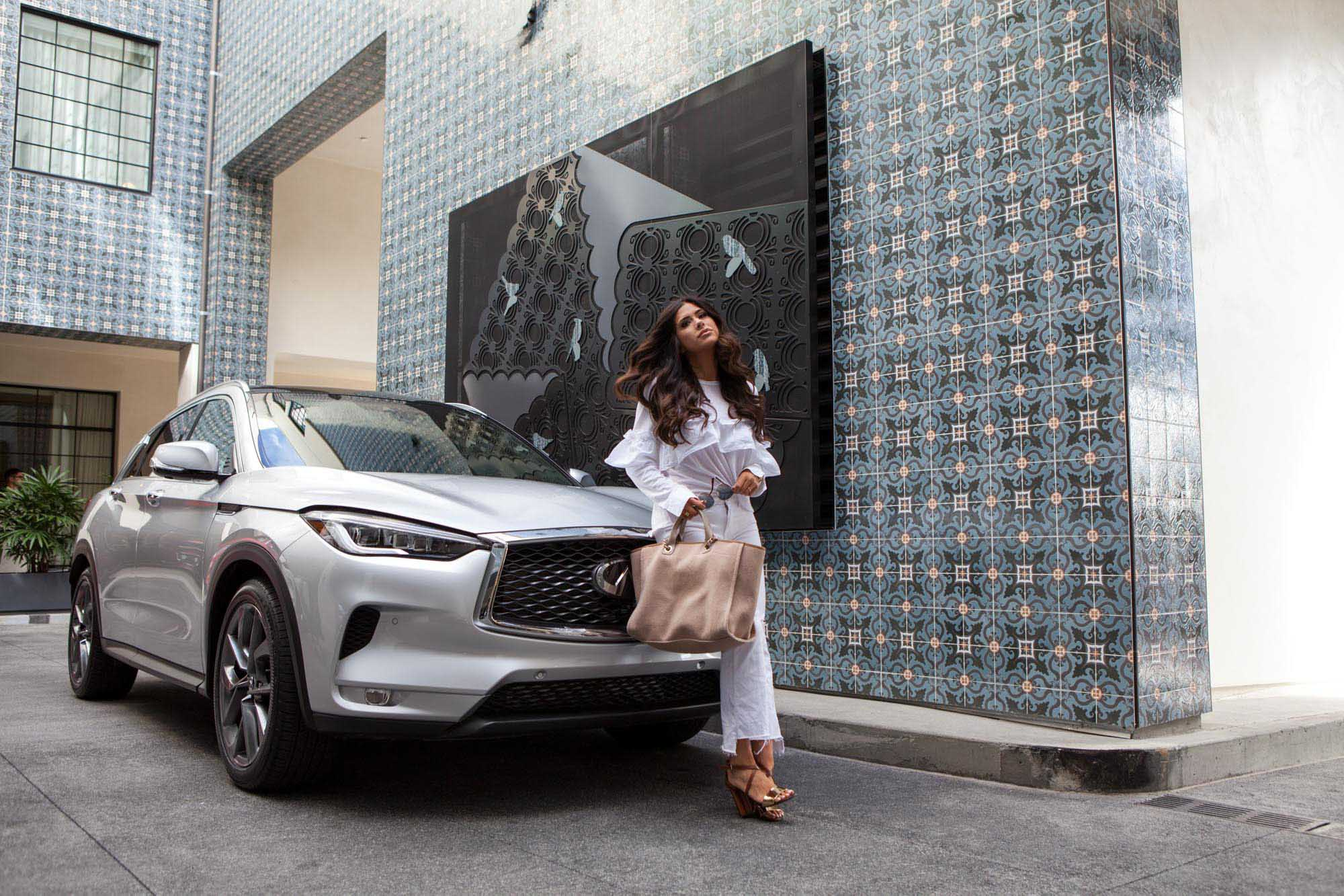 Emily Ann Gemma in front of Infiniti QX-50 hotel in Los Angeles, California | Fashion Photography | Car Photography | @emilyanngemma | THE SWEETEST THING | @thegemmagang | Commercial Photography | Shot for Crispin Porter + Bogusky
