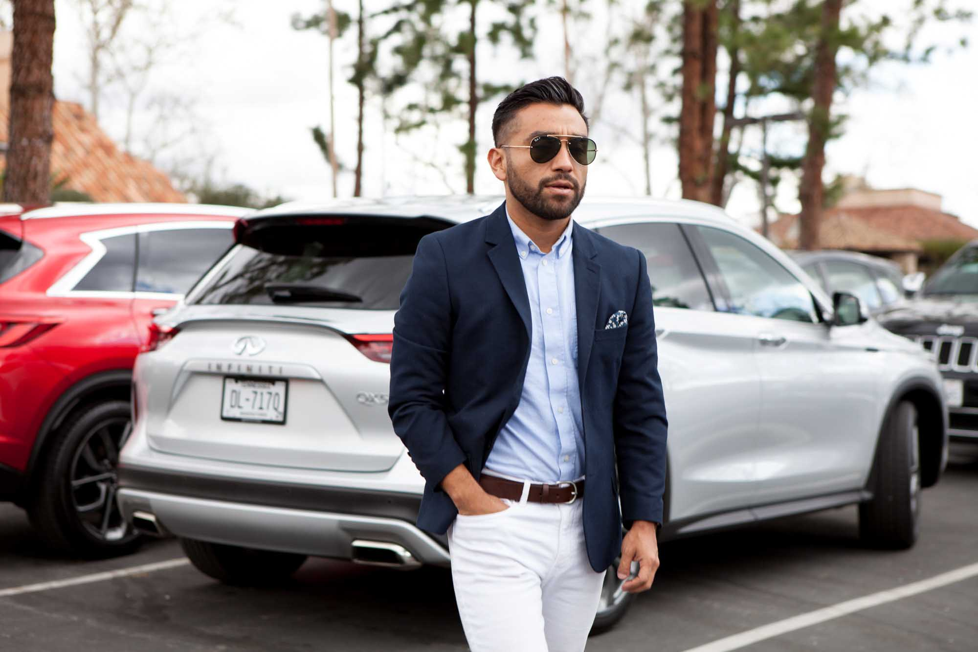 J Fig - @rule_of_thumbs in front of Infiniti QX-50 |  Car Photography | Fashion Photography | Male Model  | Shot in Los Angeles, California for Crispin Porter + Bogusky