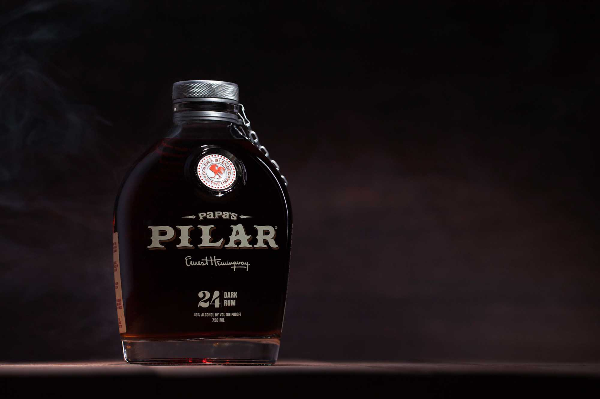 Papa's Pilar Rum bottle on table and dark background | product photography | Bottle Photography  | Still Life Photography shot in Boulder, Colorado for Crispin Porter + Bogusky