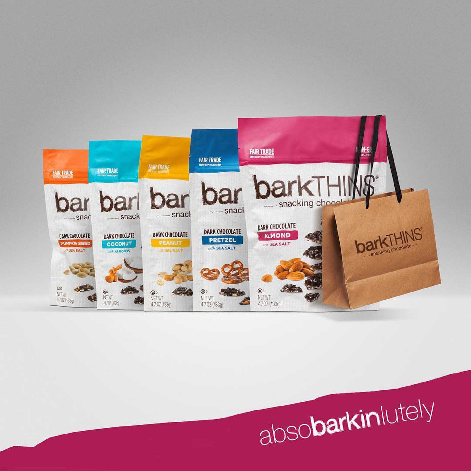 Five Bags of Barkthins Snacks, product photography | Still Life Photography | Shot in Boulder, Colorado for Crispin Porter + Bogusky