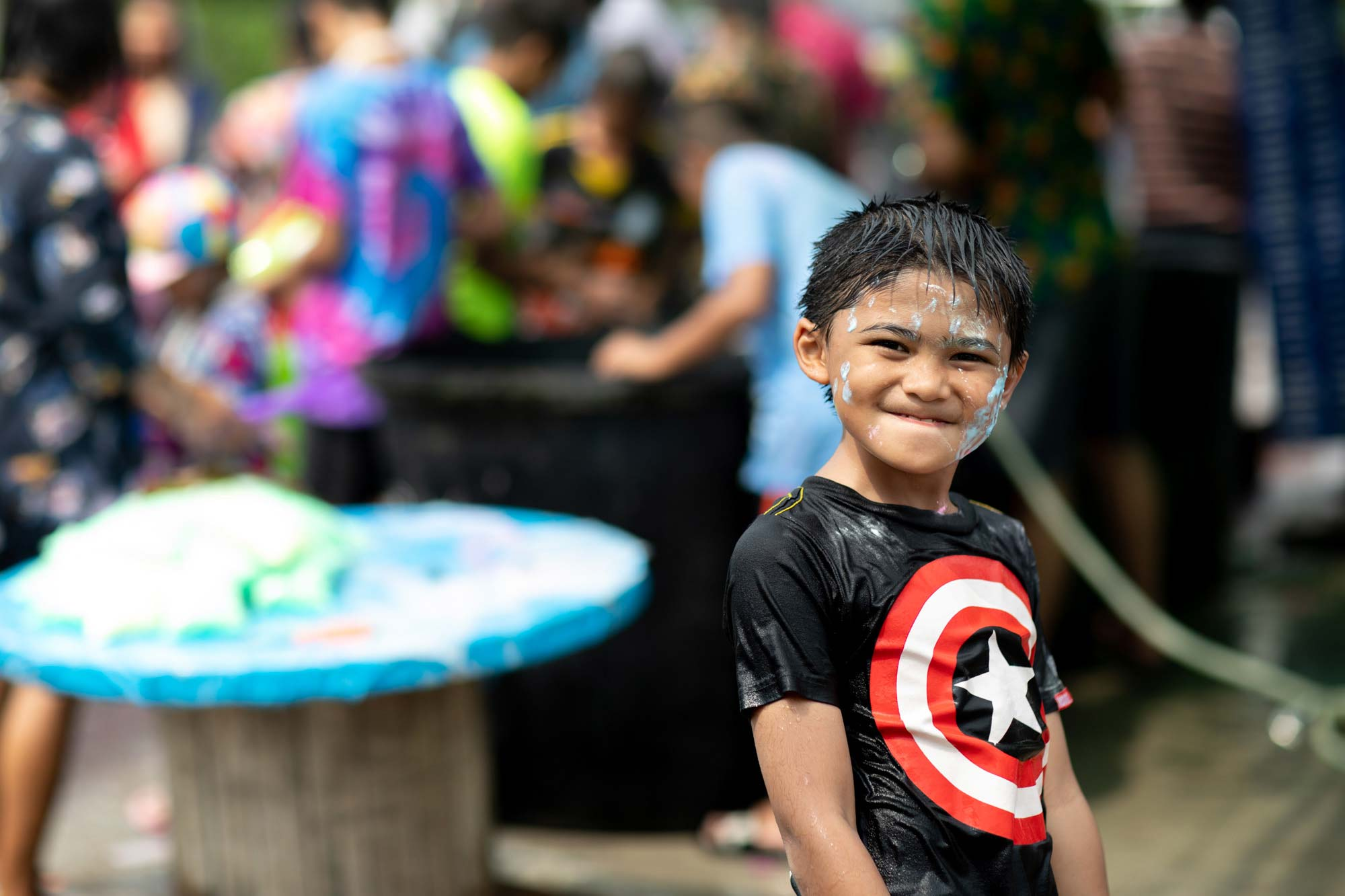 Smiling Boy with painted face | Songkran Thailand | Travel Phogoraphy | Portrait Photography
